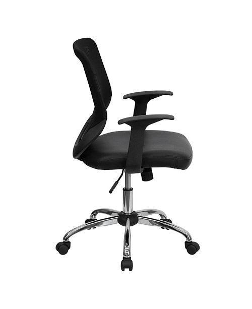Flash Furniture Mid-Back Black Mesh Swivel Task Chair With Leather Seat And Arms