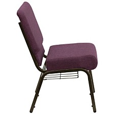 Hercules Series 21''W Church Chair In Plum Fabric With Cup Book Rack - Gold Vein Frame