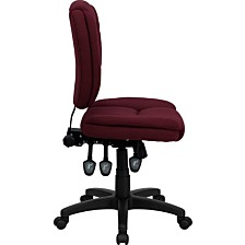 Mid-Back Burgundy Fabric Multifunction Ergonomic Swivel Task Chair