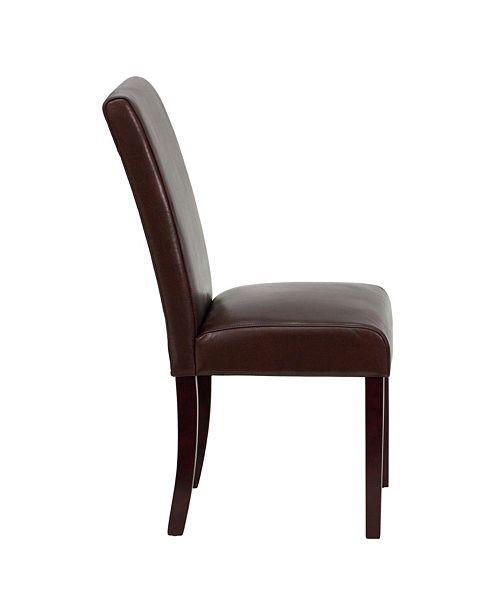 Flash Furniture Dark Brown Leather Parsons Chair