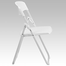 Hercules Series 880 Lb. Capacity Heavy Duty White Plastic Folding Chair With Built-In Ganging Brackets