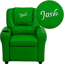 Personalized Green Vinyl Kids Recliner With Cup Holder And Headrest