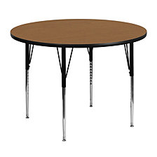 48'' Round Oak Thermal Laminate Activity Table - Standard Height Adjustable Legs