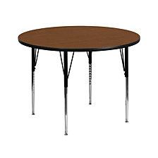 42'' Round Oak Hp Laminate Activity Table - Standard Height Adjustable Legs