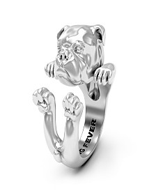 English Bulldog Hug Ring in Sterling Silver