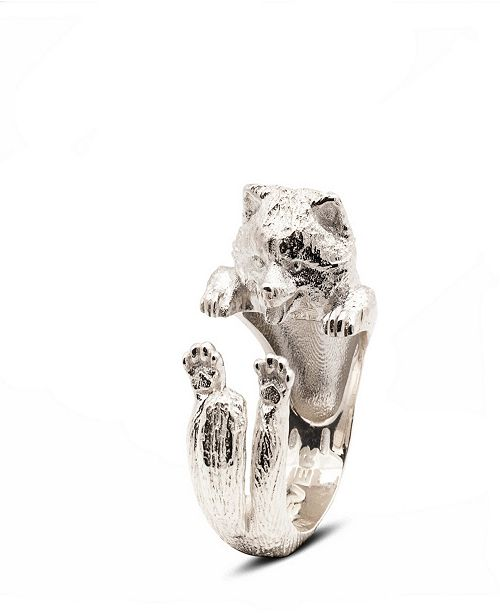 Dog Fever Pomeranian Hug Ring in Sterling Silver
