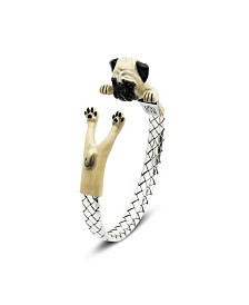 Pug Adjustable Bracelet in Sterling Silver and Enamel