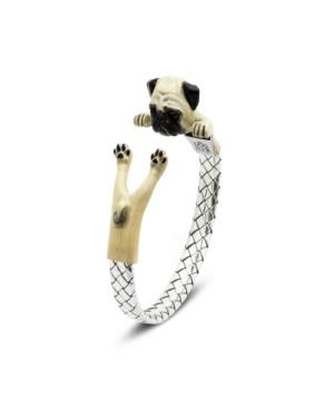 Pug Adjustable Bracelet in Sterling Silver and Enamel -  Dog Fever
