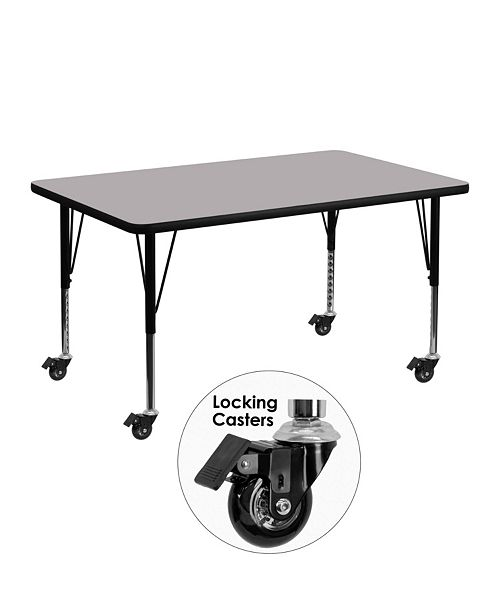Flash Furniture Mobile 30''W X 48''L Rectangular Grey Thermal Laminate Activity Table - Height Adjustable Short Legs