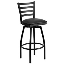 Hercules Series Black Ladder Back Swivel Barstool
