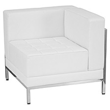 Hercules Imagination Series Contemporary Melrose White Leather Right Corner Chair With Encasing Frame
