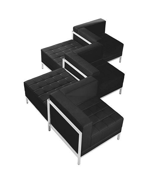 Flash Furniture Hercules Imagination Series Black Leather 5 Piece Chair Ottoman