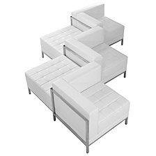 Hercules Imagination Series Melrose White Leather 5 Piece Chair & Ottoman Set