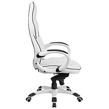 High Back White Vinyl Executive Swivel Chair With Black Trim And Arms