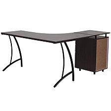 Walnut Laminate L-Shape Desk With Three Drawer Pedestal