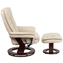 Contemporary Beige Leather Recliner And Ottoman With Swiveling Mahogany Wood Base