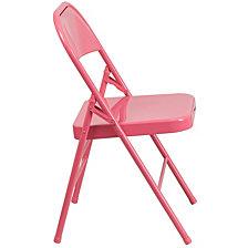 Hercules Colorburst Series Bubblegum Pink Triple Braced & Double-Hinged Metal Folding Chair