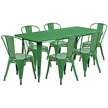 31.5'' X 63'' Rectangular Green Metal Indoor-Outdoor Table Set With 6 Stack Chairs
