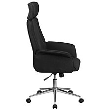 High Back Black Fabric Executive Swivel Chair With Chrome Base And Fully Upholstered Arms