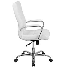 High Back White Leather Executive Swivel Chair With Chrome Base And Arms