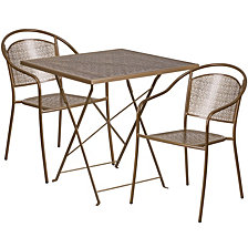 28'' Square Gold Indoor-Outdoor Steel Folding Patio Table Set With 2 Round Back Chairs