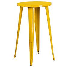 24'' Round Yellow Metal Indoor-Outdoor Bar Height Table