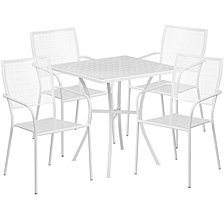 28'' Square White Indoor-Outdoor Steel Patio Table Set With 4 Square Back Chairs