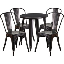 24'' Round Black-Antique Gold Metal Indoor-Outdoor Table Set With 4 Cafe Chairs