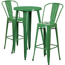 24'' Round Green Metal Indoor-Outdoor Bar Table Set With 2 Cafe Stools