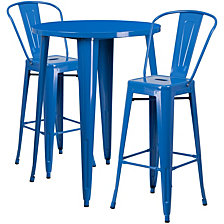 30'' Round Blue Metal Indoor-Outdoor Bar Table Set With 2 Cafe Stools