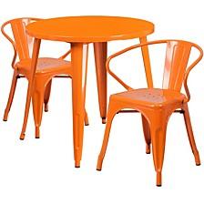 30'' Round Orange Metal Indoor-Outdoor Table Set With 2 Arm Chairs