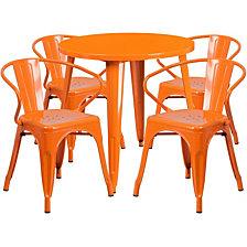 30'' Round Orange Metal Indoor-Outdoor Table Set With 4 Arm Chairs