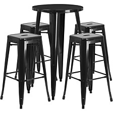 24'' Round Black Metal Indoor-Outdoor Bar Table Set With 4 Square Seat Backless Stools