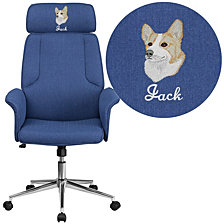 Embroidered High Back Blue Fabric Executive Swivel Chair With Chrome Base And Fully Upholstered Arms