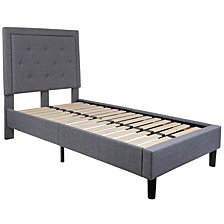 Roxbury Twin Size Tufted Upholstered Platform Bed In Light Gray Fabric