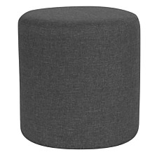 Barrington Upholstered Round Ottoman Pouf In Dark Gray Fabric