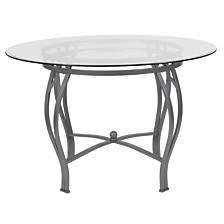 Syracuse 45'' Round Glass Dining Table With Silver Metal Frame