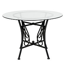 Princeton 42'' Round Glass Dining Table With Black Metal Frame