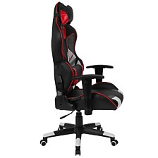 Cumberland Comfort Series High Back Black, White, Gray And Red Executive Reclining Racing/Gaming Swivel Chair With Lumbar Support