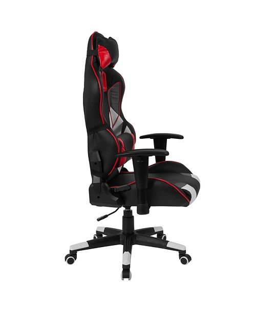 Enjoyable Cumberland Comfort Series High Back Black White Gray And Red Executive Reclining Racing Gaming Swivel Chair With Lumbar Support Beatyapartments Chair Design Images Beatyapartmentscom