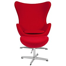 Wool Fabric Egg Chair With Tilt-Lock Mechanism And Ottoman