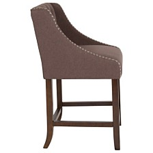 "Carmel Series 24"" High Transitional Tufted Walnut Counter Height Stool With Accent Nail Trim In Brown Fabric"