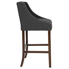 "Carmel Series 30"" High Transitional Tufted Walnut Barstool With Accent Nail Trim In Black Fabric"
