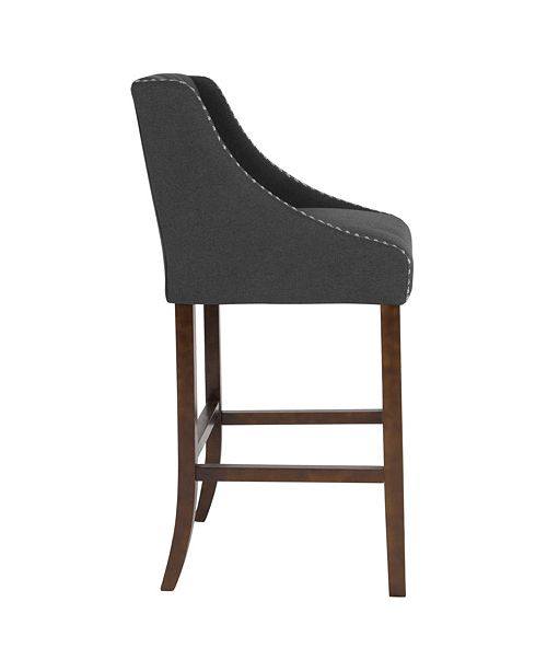 "Flash Furniture Carmel Series 30"" High Transitional Tufted Walnut Barstool With Accent Nail Trim In Black Fabric"