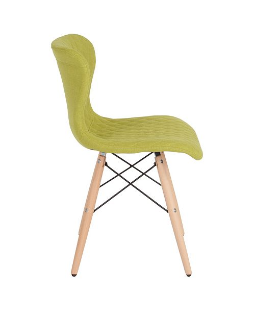 Flash Furniture Riverside Contemporary Upholstered Chair With Wooden Legs In Citrus Green Fabric