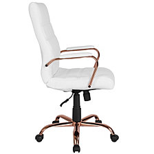 High Back White Leather Executive Swivel Chair With Rose Gold Frame And Arms