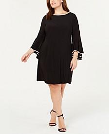 Plus Size Rhinestone-Trim Bell-Sleeve Dress