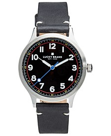 Men's Jefferson Black Leather Strap Watch 38mm