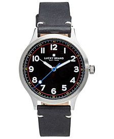 Lucky Brand Men's Jefferson Black Leather Strap Watch 38mm