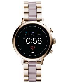 Fossil Q Women's Venture HR Pastel Pink Stainless Steel Bracelet Touchscreen Smart Watch 40mm
